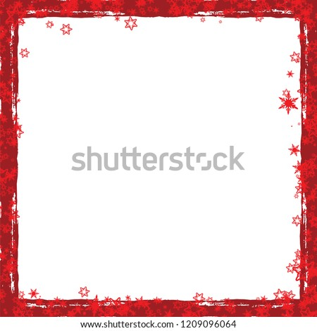Red Christmas Frame With Snowflakes