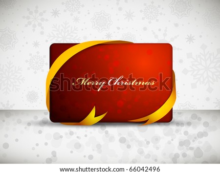 Red Christmas Gift Card with Yellow Ribbon | Label