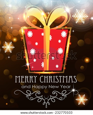 Red Christmas Gift on abstract background with sparkling lights