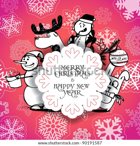Red Christmas greeting card with Christmas persons