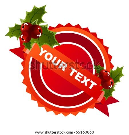 Red christmas label with space for text