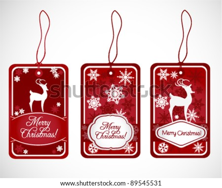 Red Christmas Labels