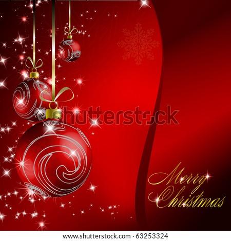 Red christmas postcard. Vector eps10 illustration