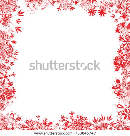 Red Christmas Snowflake Frame #753845749