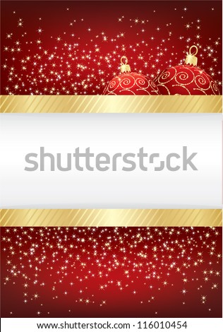 red christmas sparkle background with gold ribbon and baubles, with space for text