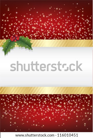 red christmas sparkle background with gold ribbon and holly, with space for text