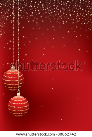red christmas sparkle background with hanging decorations