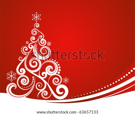 Christmas Pictures on Red Christmas Template With Swirly Tree Stock Vector 63657133