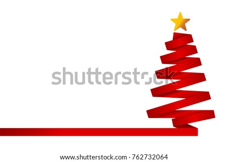 red christmas tree made from ribbon. Vector illustration
