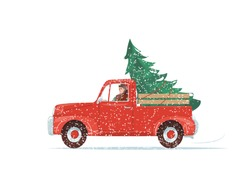 Red christmas truck with green fir tree at the body, man driving. Pickup car go snow, blizzard. Vector illustration isolated on white background.