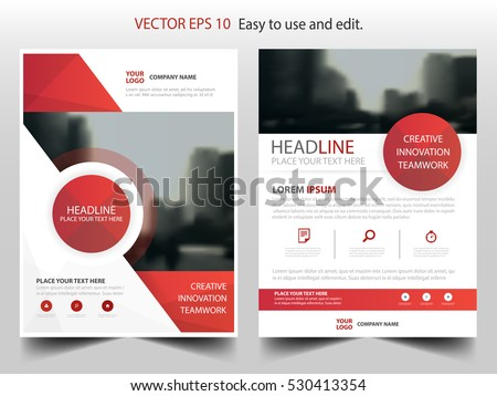 Red circle annual report Brochure design template vector. Business Flyers infographic magazine poster.Abstract layout template ,Book Cover presentation portfolio.