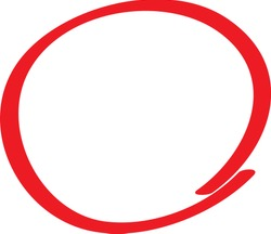 Red circle pen draw. Highlight hand drawn circle isolated on white background. Handwritten red circle. For marker pen, pencil, logo and text check. Vector illustration