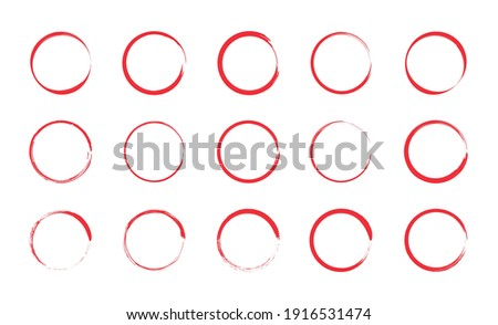 Red circle pen draw set. Collection of different red circles. Highlight hand drawn circle isolated on white background. Hand drawn for marker pen, pencil, logo and text check. Vector illustration.