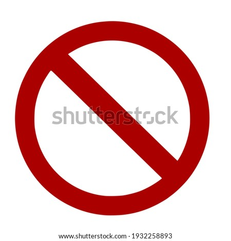 Red circle sign with a red oblique line, Prohibition sign.Vector illustration isolated on white background. Foto stock ©