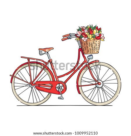 Red city bicycle with a flower basket in front. Vector illustration.