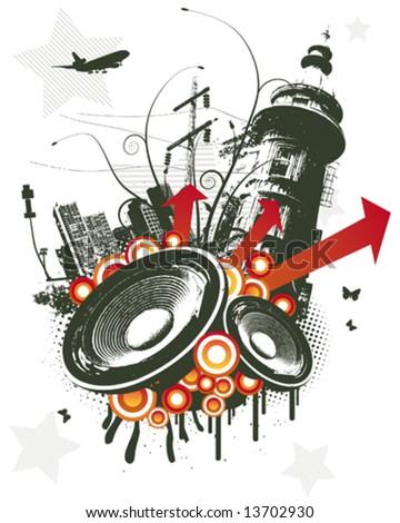 Red city speaker grunge