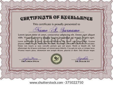 Red Classic Certificate template. Award. With great quality guilloche pattern. Money Pattern design.