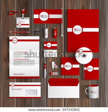 Red classic corporate identity template design with white line. Business stationery
