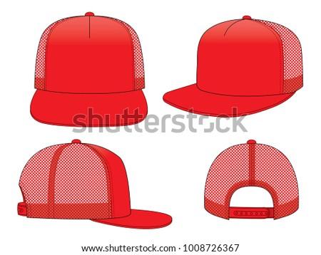 Trucker mesh hat template vector download free vector art stock red classic hip hop hat vector for template maxwellsz
