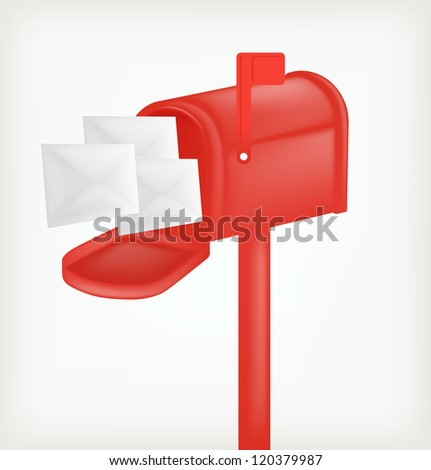 Red classic mailbox with mail. Vector - stock vector