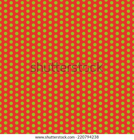 Red clean modern circle seamless Christmas wrapping background pattern with green circles