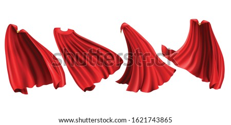 Red cloaks with golden clasp set. Silk flattering capes front, back and side view in different positions isolated on white background, superhero costume. Realistic 3d vector illustration, clip art Stock photo ©