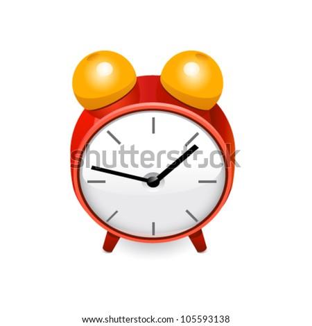 Red clock. Vector