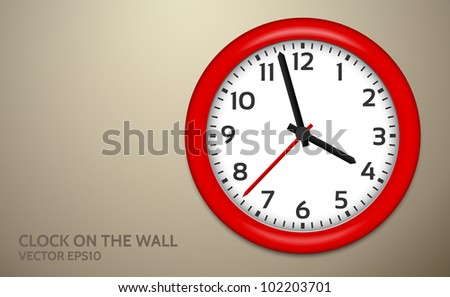 Red Clocks on brown wall