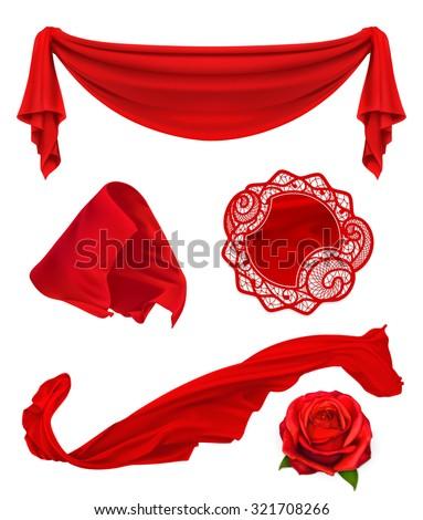 Red cloth, vector illustration set