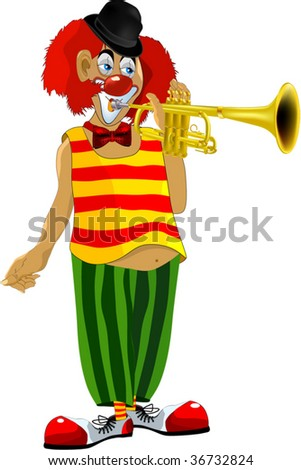 red clown plays a trumpet