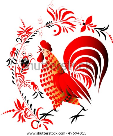 Red cock on national motives on a white background with a flower