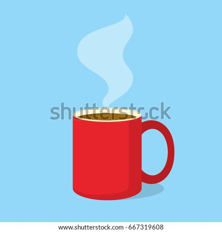 red coffee mug with steam in