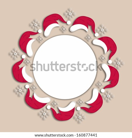 red color Christmas Santa cap with snow flake in circular frame style