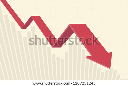 red color 3d Downtrend line arrows go down with bar chart in flat icon design on yellow color background