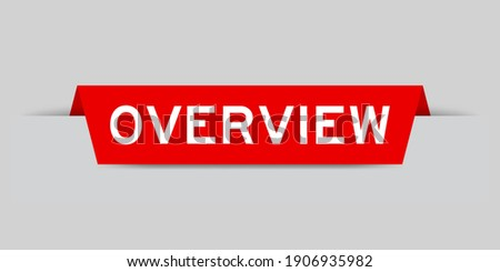Red color inserted label with word overview on gray background Stock photo ©