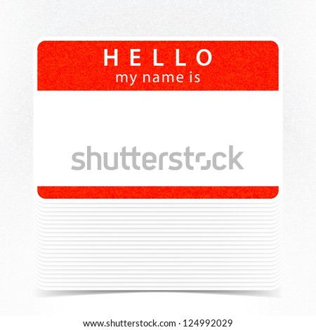 Red color name tag HELLO my name is. Pile blank stickers with drop gray shadow on white background. Copy space for text. Vector illustration clip-art element for design saved in 10 eps