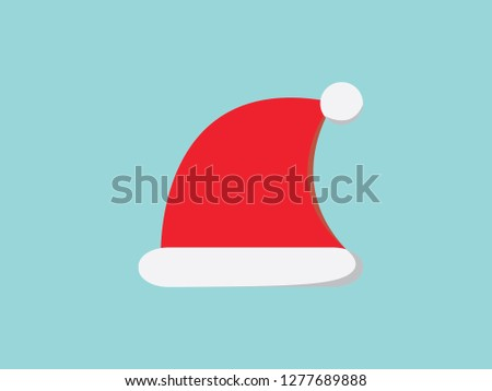 f1743faa36d65 red color santa hat flat icon. modern design. vector illustration