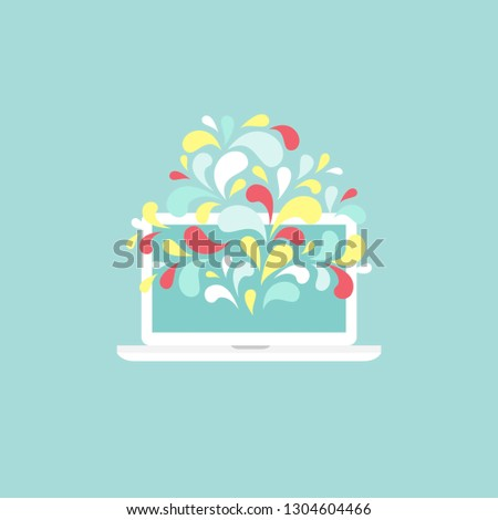 red computer monitor with paint brush isolated on powder blue. Flat vector illustration. designer, illustrator symbol. Creative work and study.