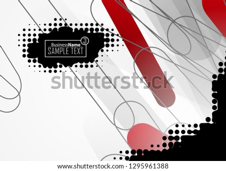 Red contrast abstract technology background. Red corporate design. Abstract tech corporate red design flyer background. Black geometric illustration for flyer, brochures, web graphic design background #1295961388