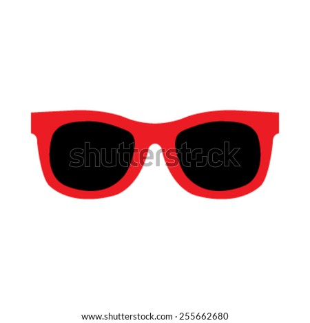 Red Cool Hipster Summer Sunglasses Shades vector icon #255662680