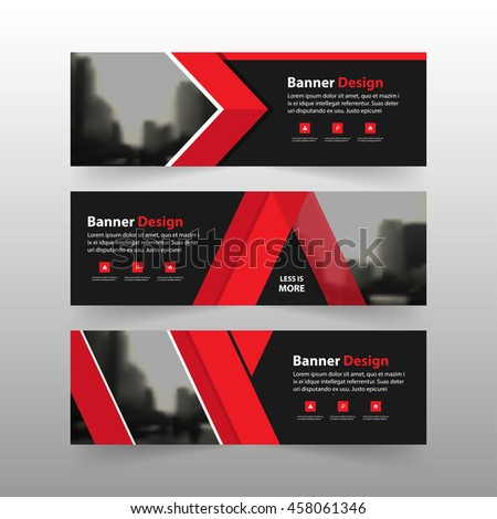 Red corporate business banner template, horizontal advertising business banner layout template flat design set  #458061346