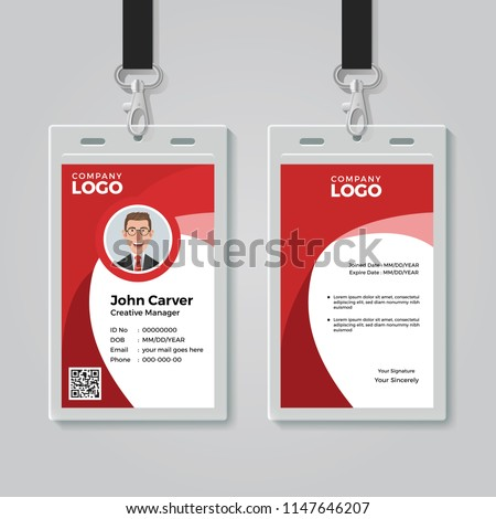 Red Corporate ID Card Template