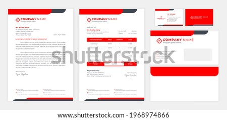 red corporate identity, including letterhead, invoice, envelop and business card