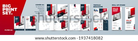 Red Corporate Identity Print Template Set of Brochure cover, flyer, tri fold, report, catalog, roll up banner. Branding design in Biege colors. Business stationery background design collection