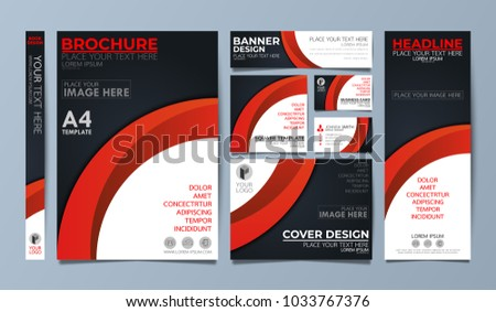 Red corporate identity set flyer cover business brochure vector design, Leaflet advertising abstract background, Modern poster magazine layout template, Annual report for presentation.