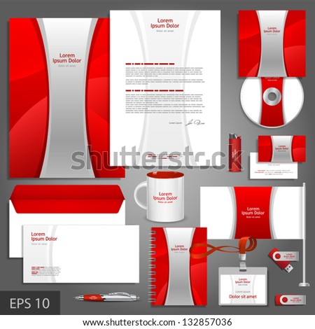 Red corporate identity template with silver stripe. Vector company style for brandbook and guideline. EPS 10