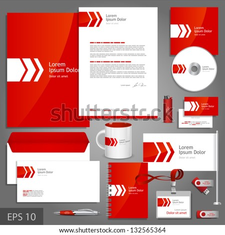 Red corporate identity template with white arrow. Vector company style for brandbook and guideline. EPS 10