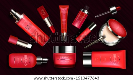 Red cosmetic line for skin care and makeup realistic vector illustration Bright cosmetics package design for cream, lotion and sunscreen spray, serum, lipstick and face correcting concealer with brush