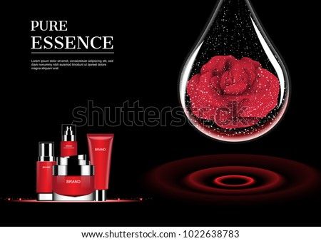 Red cosmetic set and water drop with red rose with red concentric wave