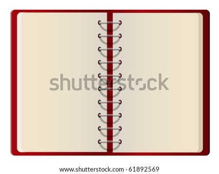 Red cover blank notebook open on white background